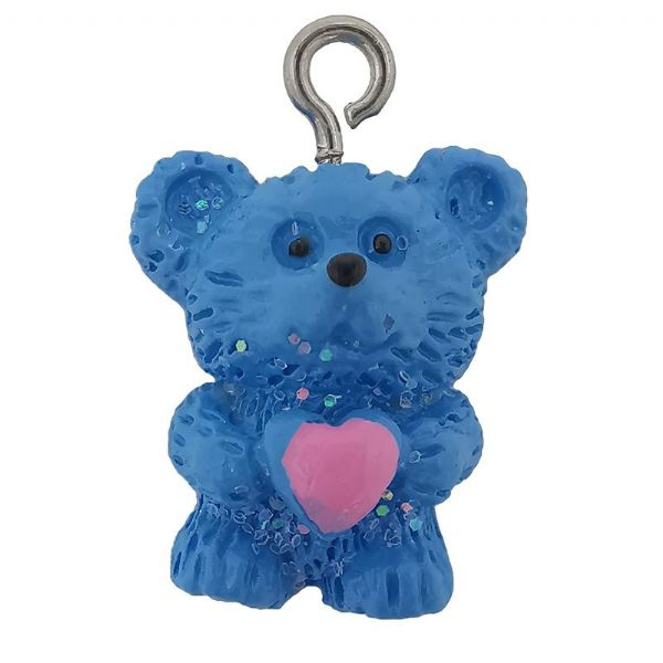 Acrylic Blue Bear with Pink Heart Charm 15mm x  18mm
